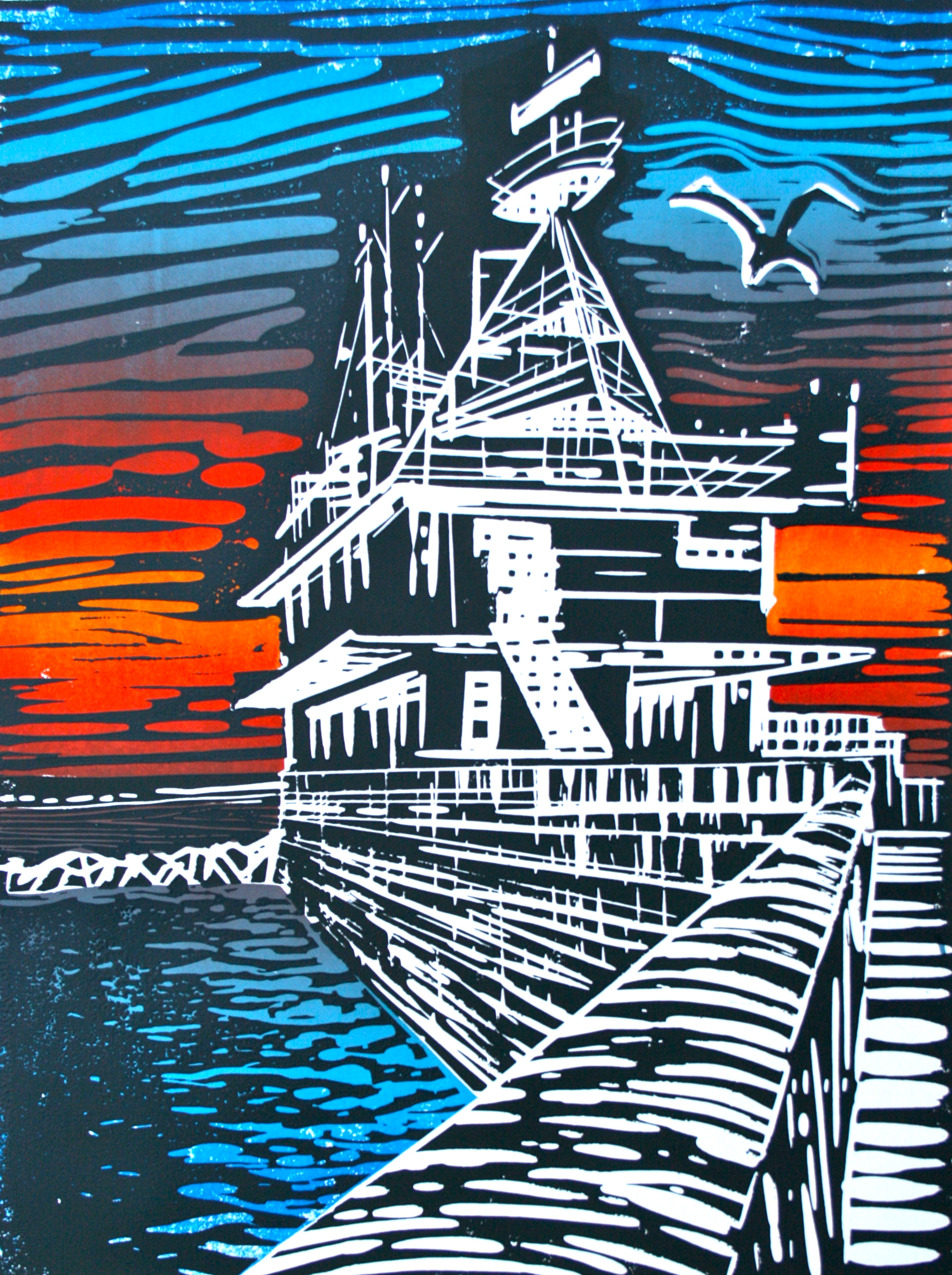 Robert Onion » East Pier sunset. Lino print